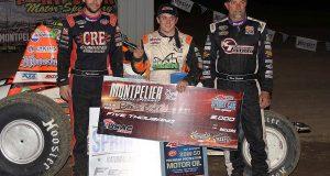 Top 3 left-2nd place Kyle Cummins winner Brady Bacon 3rd place Dave Darland-right - Jim Denhamer photo