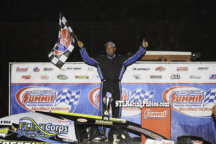 Mike Harrison grabs Belle-Clair Speedway Summit Modified Nationals win!
