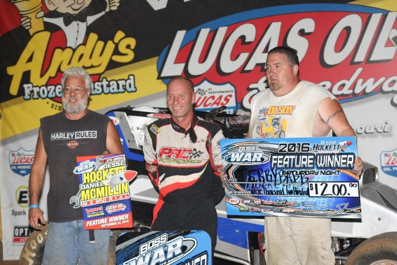 Johnson, Babb celebrate Hockett/McMillin Memorial feature wins at Lucas Oil Speedway