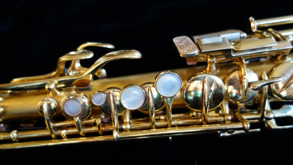 A gold plated Conn New Wonder Series II soprano I overhauled (and polished).