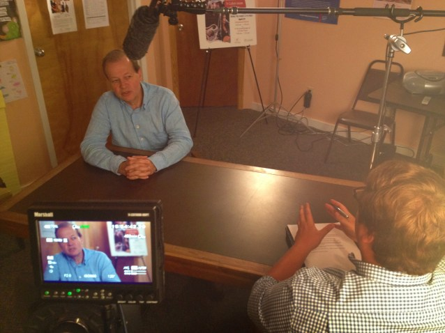 Filming an interview with FWF President Manley Fuller