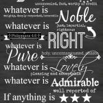 PHILIPPIANS 4:8 PRINTABLE CHALKBOARD ART