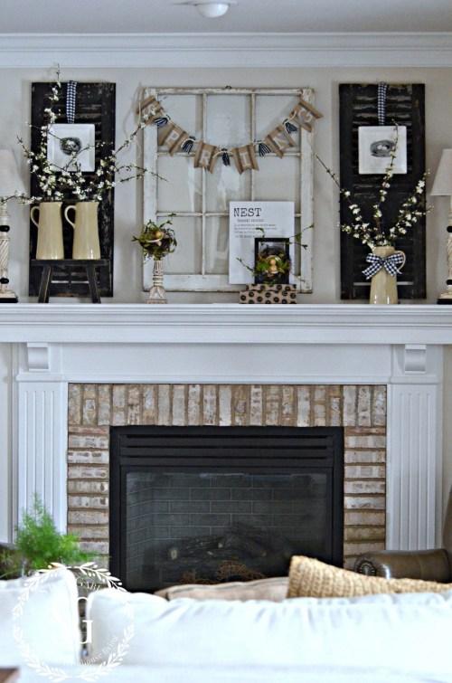 SPRING MANTEL-spring mantel in the family room-stonegableblog.com