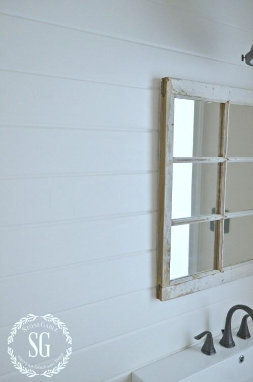 FARMHOUSE POWDER ROOM REVEAL-horizontal planked wall-stonegableblog.com
