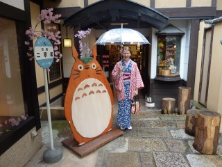 Out the front of a Ghibli goods store