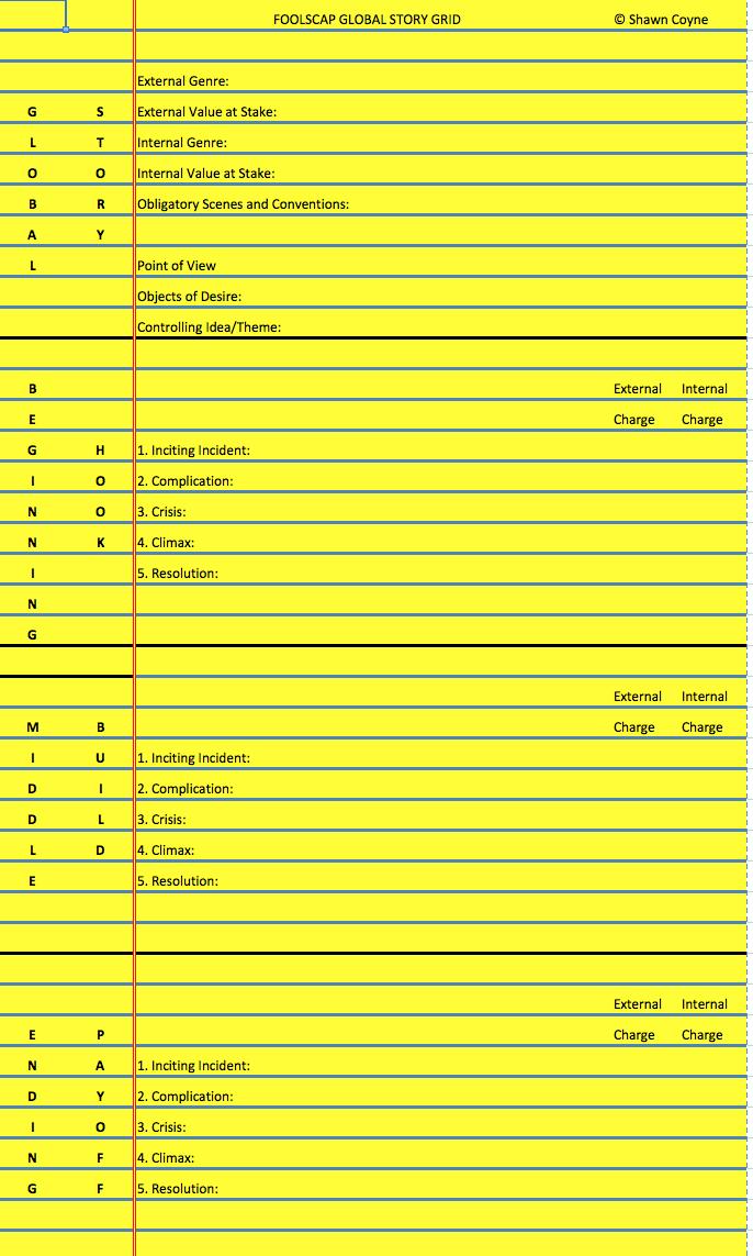 Structurer son récit : the foolscap method http://i2.wp.com/www.storygrid.com/wp-content/uploads/2014/10/Screenshot-2014-11-25-11.48.01.png