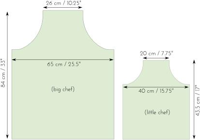 measurements finished apron