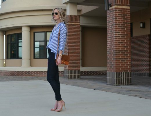 blue and white striped top, dark jeans, chloe dupe bag, tan heeled sandals