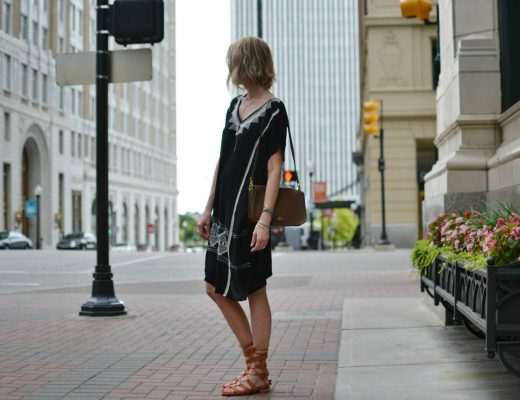 embroidered caftan dress, gladiator sandals