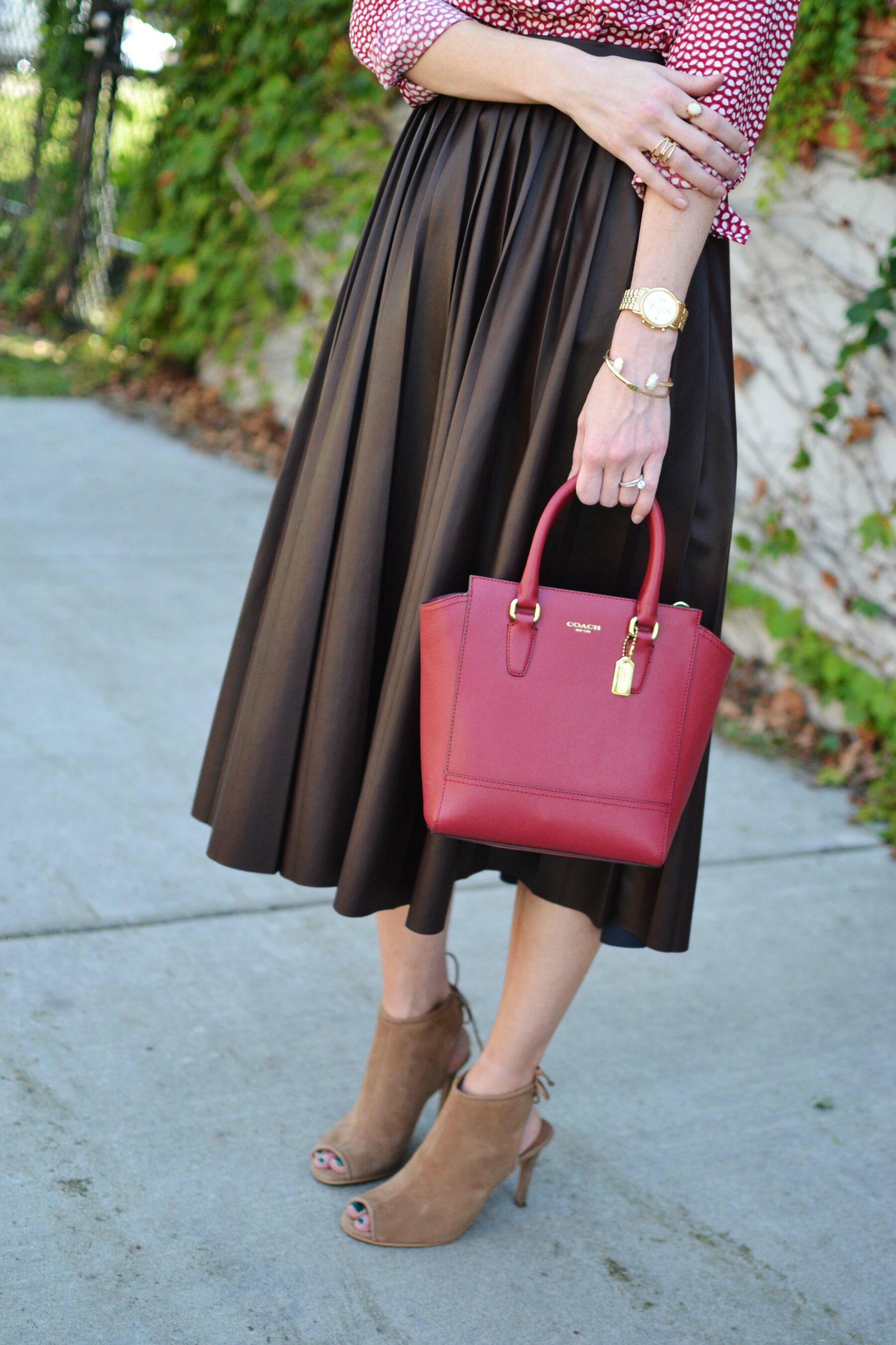 burgundy leather pleated midi skirt a style