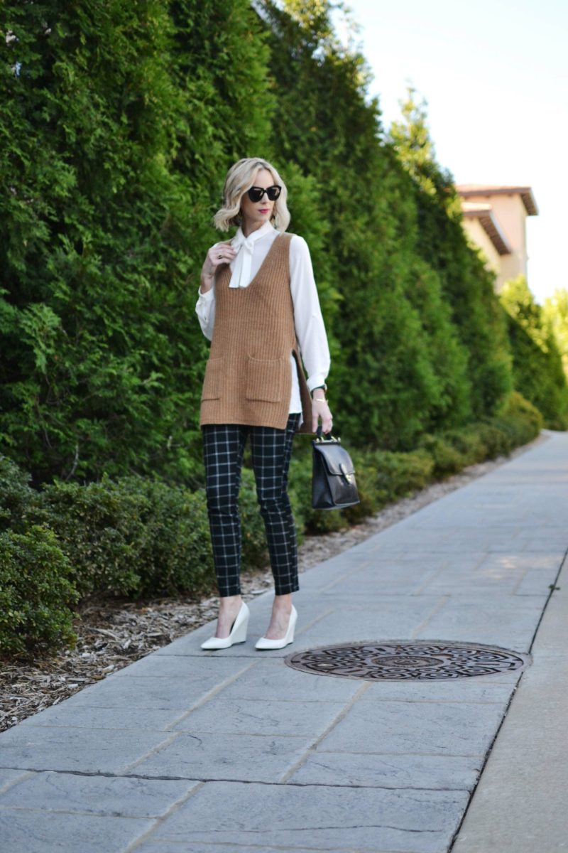 Gap Factory black and white slim city pants, bow top, camel vest, white heels