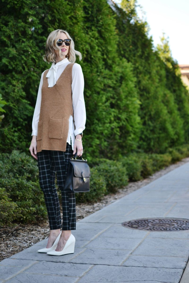 Gap Factory slim city pants, bow top, camel vest, white heels