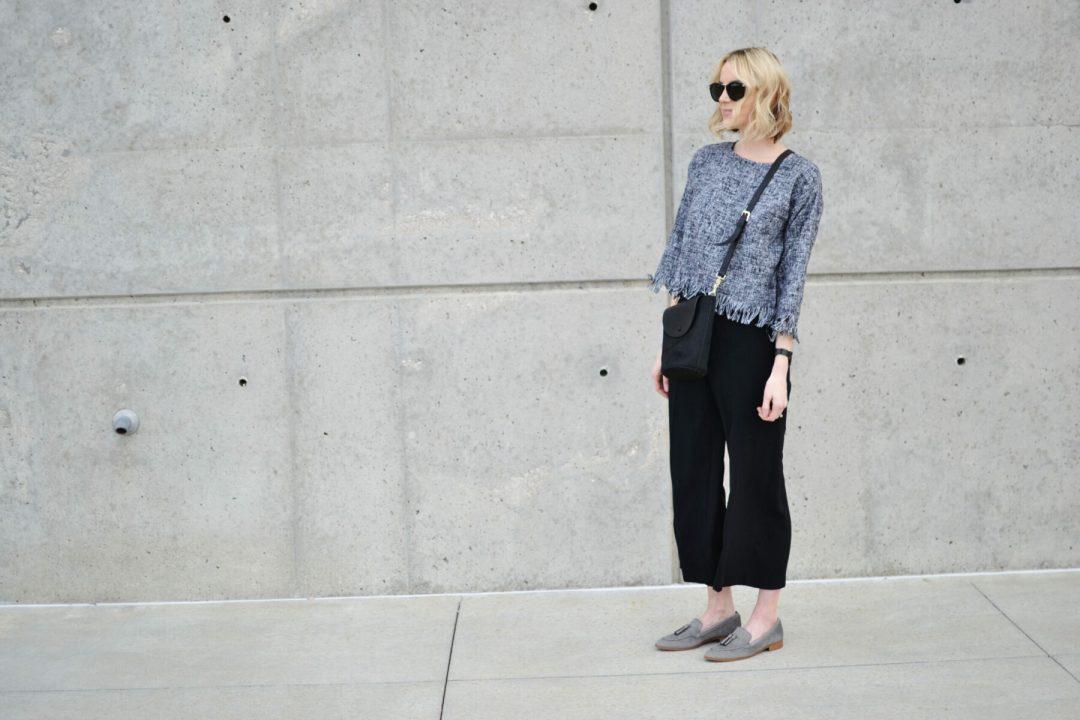 fringe top, culottes, black crossbody, grey loafers, Karen walker sunglasses