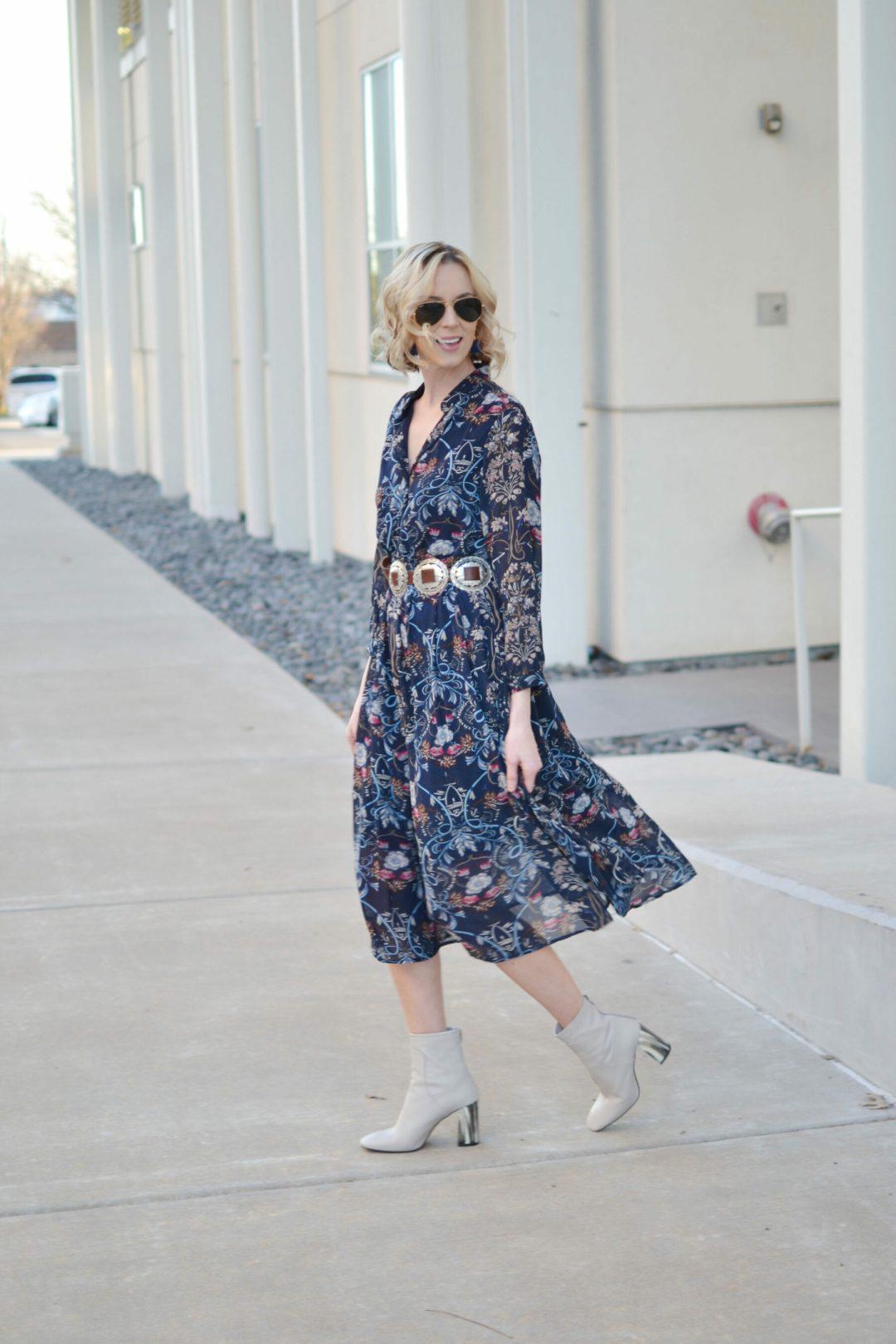 oasap floral midi dress, topshop mod cream boots, concho belt, ray-ban sunglasses