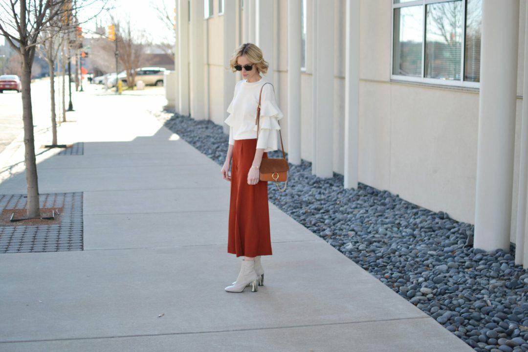 ruffle sleeve shirt, culottes, chloe due bag, cream boots