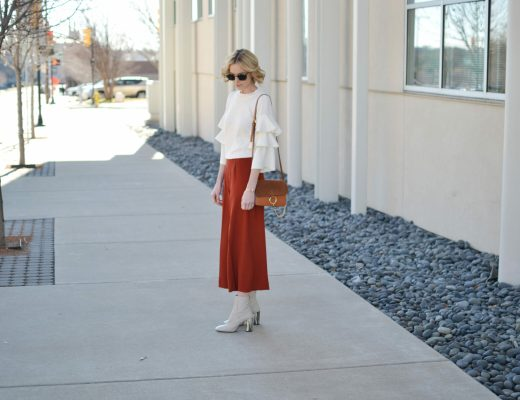 ruffle sleeve shirt, culottes, chloe due bag, cream boots