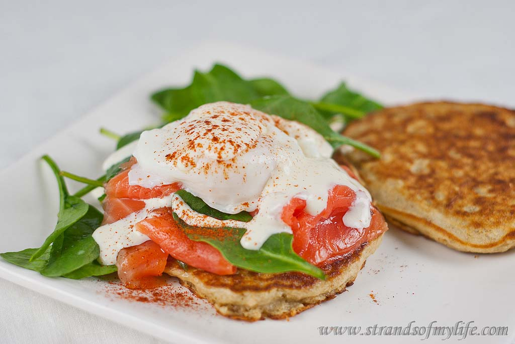Salmon & Egg with gluten-free pancakes - low FODMAP