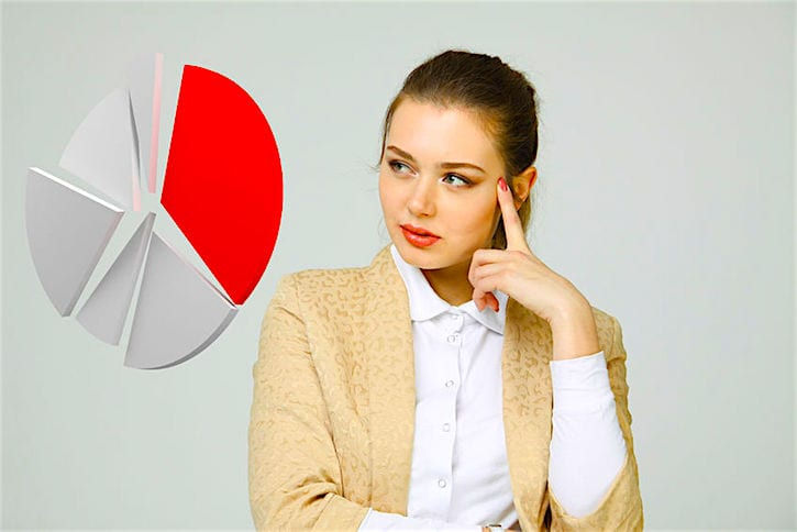 60500768 - young businesswoman shows a pie chart (circle diagram) on grey background. business analytics concept.