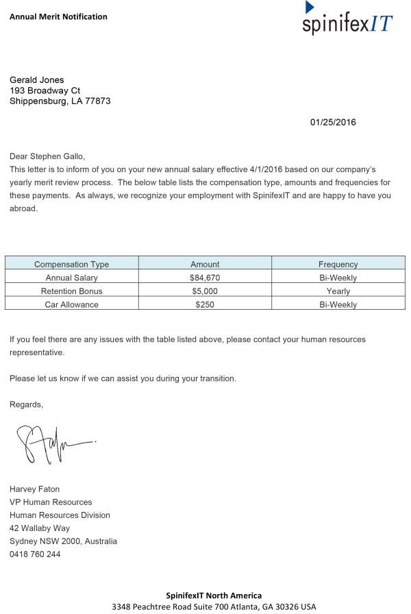 Compensation Letters