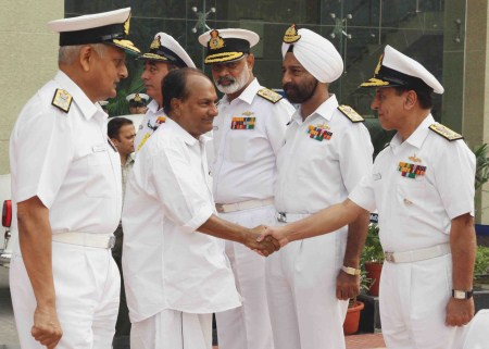 Indian navy chief, Admiral Nirmal Verma introduces Defense Minister Arackaparambil Kurian Antony to senior naval commanders in New Delhi on Wednesday.