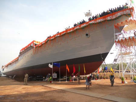 The Offshore Patrol Vessel, Sumitra, before launch.