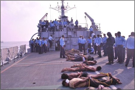 The arrested pirates on board the INS Tir.