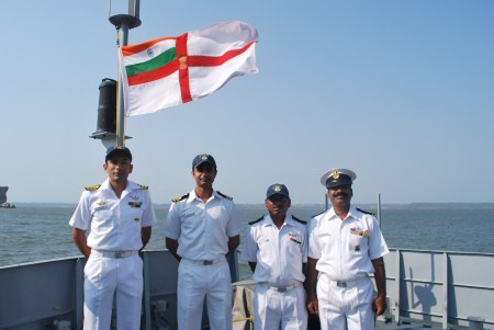 The captain with his crew. The Cankarso is crewed by four officers and 42 ratings.