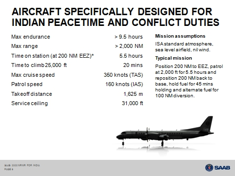 Specifications of the SAAB 2000