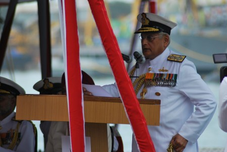 Admiral Verma addresses the assembled.