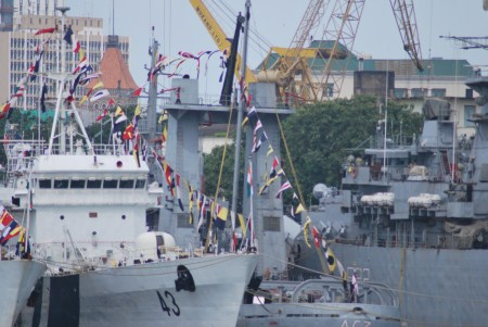 The other warships at the Naval Dockyard in Mumbai welcomed the latest addition to the fleet.