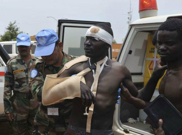 A wounded civilian arrives in Juba after an ambush on an UNMISS convoy by unidentified assailants near Gumuruk in Jonglei State. Photo: UNMISS/Isaac Billy