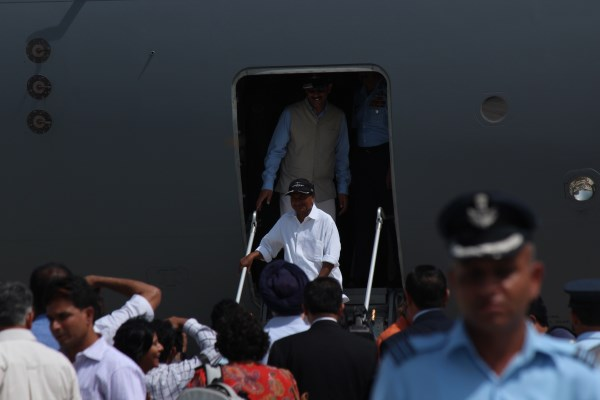 Defense Minister AK Antony and Minister of State for Defense Jitendra Singh after a tour of the aircraft | StratPost