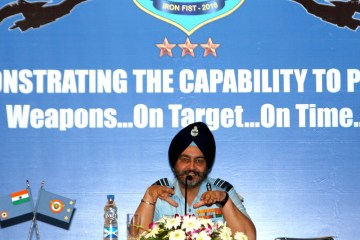 The Vice Chief of the Air Staff, Air Marshal B.S. Dhanoa addressing the curtain raiser press conference on Fire Power Demonstration (FPD) Ex-Iron Fist – 2016, in New Delhi on March 10, 2016.