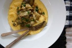 Braised Baby Artichokes with Creamy Polenta
