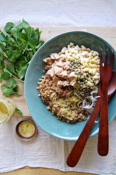 Farro Salad with Tuna, Cannellini Beans & Watercress