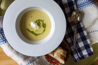 Sweet Corn Soup with Basil Oil and Ricotta