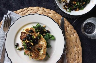 Cauliflower Steaks with Currant, Olive, Pinenut Gremlata