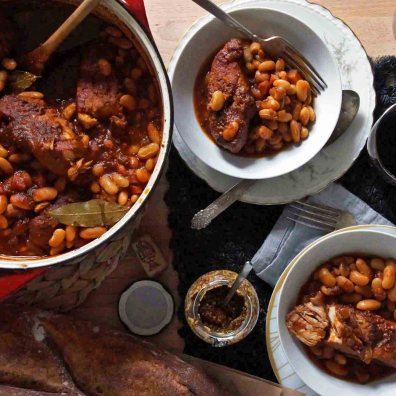 Cider Braised Pork Ribs and Beans