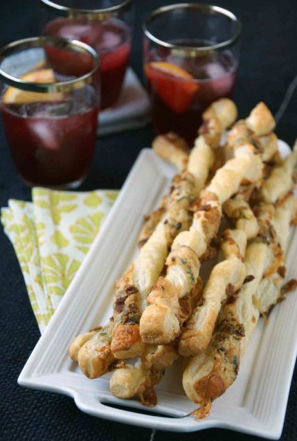 Cheese Straws with Bacon and Blue Cheese