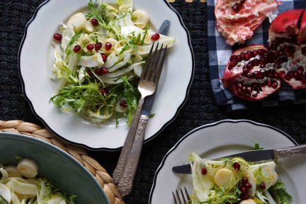 Frisee, Fennel, Avocado, and Hearts of Palm Salad with Pomegranate Seeds