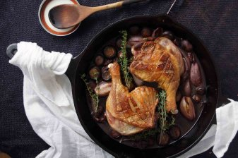 Red Wine Braised Duck Legs with Mushrooms & Shallots