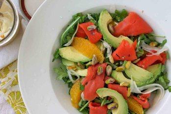 Arugula Salad with Gravlax, Avocado & Pickled Fennel