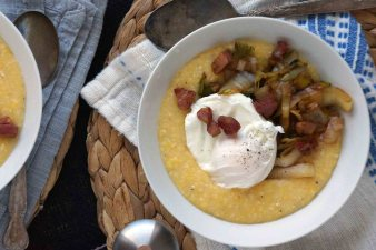 Polenta Bowl with Leeks, Endive, Pancetta & Poached Egg