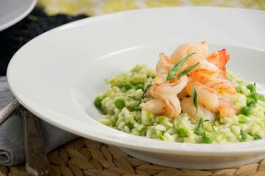 Spring Pea & Tarragon Risotto with Shrimp