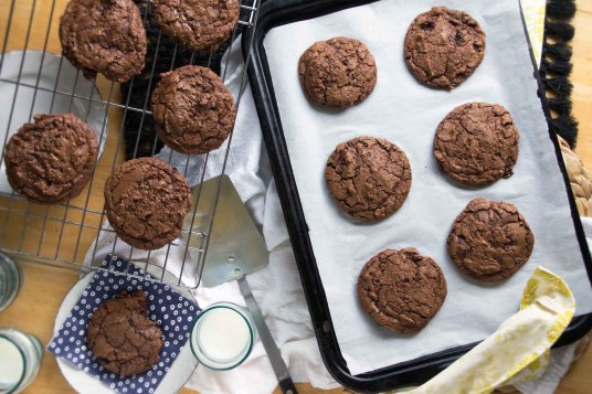Chewy Chocolate Cookies with Rum-Soaked Cherries