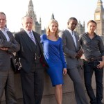 Kelly Adams as Emma, Adrian Lester as Mickey, Robert Glenister as Ash Morgan, Matt Di Angelo as Sean, Robert Vaughn as Albert Stroller in Hustle. Image: BBC