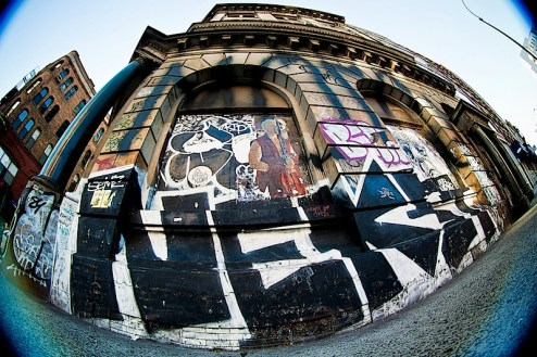 Street Art pieces by Primo, Army of One, Gaia, Stickman, Nekst and more on Jay Maisel's loft on the Bowery in NYC
