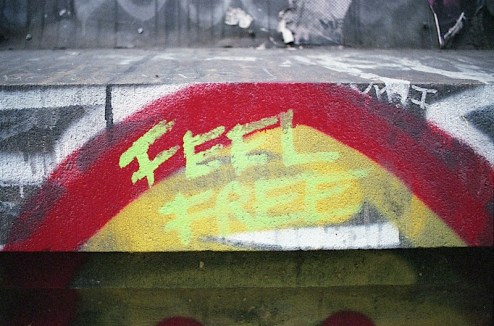 feel free street art on the bowery in nyc