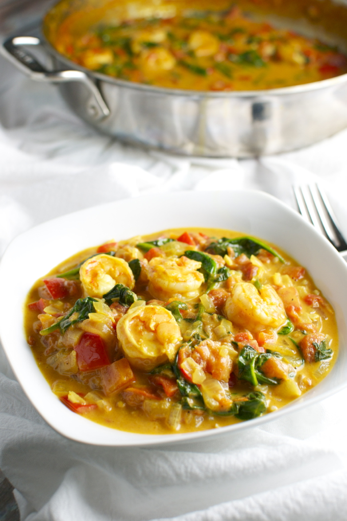Coconut Shrimp Curry with Red Pepper and Spinach ...