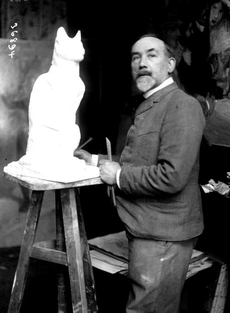Steinlen dans son atelier,  Photographie de l'agence de presse Meurisse (1913),  Bibliothèque nationale de France.